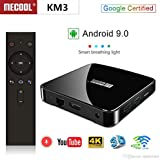 MECOOL KM3 Google Certified Android 9.0 Pie ATV Android TV Box Amlogic S905X2 4GB/64GB Dual WiFi 2T2R Bluetooth 4.0 Voice Remote Control Miracast Set-Top Box