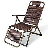 Brisk- Haushalt Rattan Klappstuhl Liegestuhl Im Freien Strandstuhl Mittagspause Fauler Stuhl Siesta Stuhl Sessel (Farbe : Square Tube)