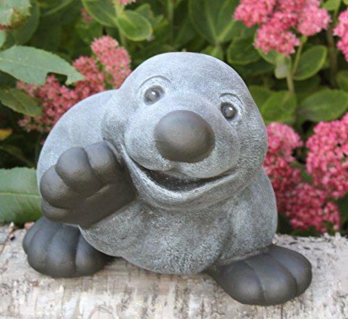 Steinfigur Maulwurf winkend in Schiefergrau, Figur, Deko, Garten