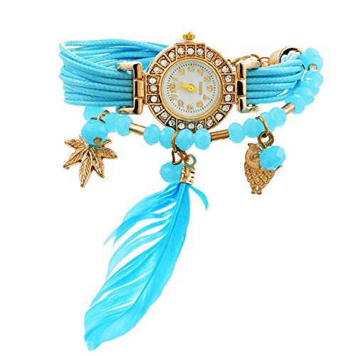 MJARTORIA Damen Boho Feder Armbanduhr Elegant mit Strass Charms Damenuhr Analog Quarz Uhr Für Mädchen Blau