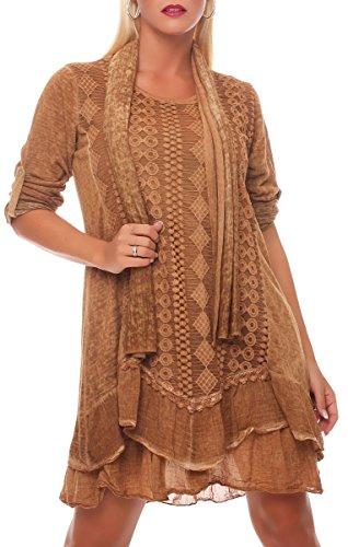 Malito Damen Strickkleid mit Schal | Maxikleid mit Spitze | schickes Freizeitkleid | Pullover - Kostüm 6283 (Camel)