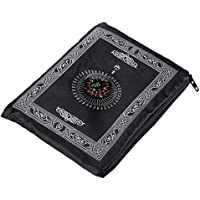 Hitopin Portable Black Color Muslim Prayer Rug with Compass Pocket Size Prayer Mat ompass Qibla finder with Booklet Waterproof Material HPUK-PMBk