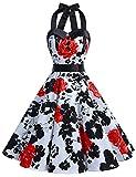 Dressystar DS1957 Robe de Bal Polka Vintage pin-up à 'Audrey Hepburn' 50's 60's Rockabilly Halter,Dos Nu, Fleur Rouge M
