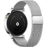 Pinhen 18mm 20mm 22mm Reemplazo liberación rápida Correa de reloj silicona acero inoxidable hebilla pulsera para Huawei Gear S2 MOTO 360 Pebble Time LG G Watch Smart Watch (Silver, 20MM Milanese)