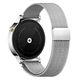 Pinhen Uhrenarmband 20MM Edelstahl Metall Silber Metallarmband Edelstahl für Uhren Uhrenarmbänder Motorola 360 2nd Gen 42mm Man Samsung Gear S2 Classic Ticwatch 2nd (20MM Milanaise, Silber)