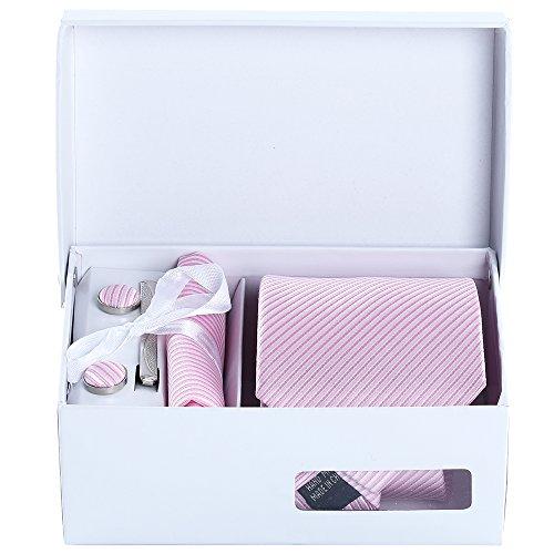 Herren Krawatten Clip Manschettenknöpfe Sets - Box Set mit Einstecktuch in Bunten Paisleymuster (Stil 08)
