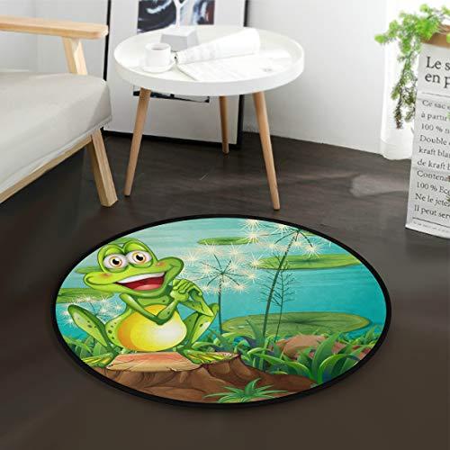 Frosch Bodenkissen (Aminka EIN Frosch über dem Stumpf in der Nähe von Teich, rund, Krabbelteppich, rutschfeste Matten für Kinder, Spielzimmer, Heimdekoration (Durchmesser 91,4 cm))