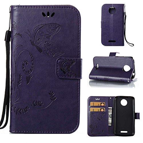 Guran® PU Ledertasche Case für Motorola Moto C Plus Smartphone Flip Cover Wallet und Stent-Funktions Hülle Geprägtes Schmetterling Muster Etui - Lila