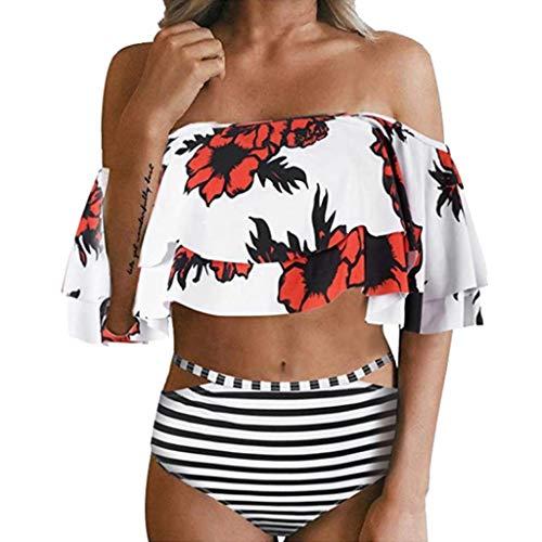 Rosennie Damen Push-Up Gepolsterte Bikini Sets Vintage Bademode Ruffles Strap Badeanzug Frauen Hight Taille Gedruckt Bikini Set Damen Bademode Neckholder Bikini mit Polka Dots Badeanzug -