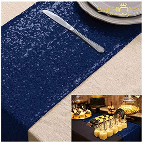 ShinyBeauty Pailletten Tischläufer-30x275cm-Navy Blau Glitzernde tischdecke rechteck tischdecke für Party-Hochzeit Tabelle Decken brennstäbe,12x108-Inch - Tischdecke Rechteck Blau