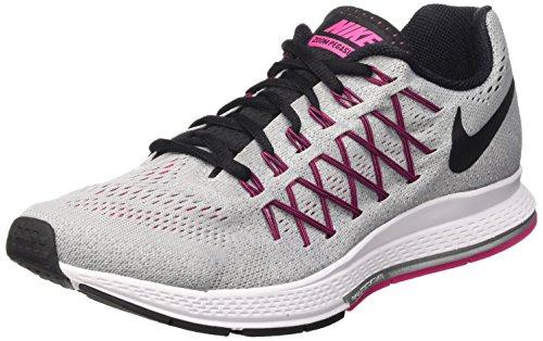 Nike Wmns Air Zoom Pegasus 32, Zapatillas de Running Mujer, Gris (Wolf Grey / Black-Vivid Pink), 36 1/2 EU
