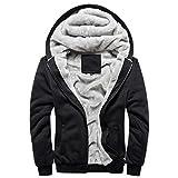 Panegy - Herbst Winter Sweatjacke Sweatshirt Kapuzenpullover Kapuzenjacke für Jungen Männer Dick Hoodie Sportjacke Baseball Jacke - Schwarz - Größe XXL