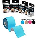 AURION Kinesiology Waterproof Uncut Muscle Support Tape for Sports Injuries (5 cm x 5 m Roll, Blue)