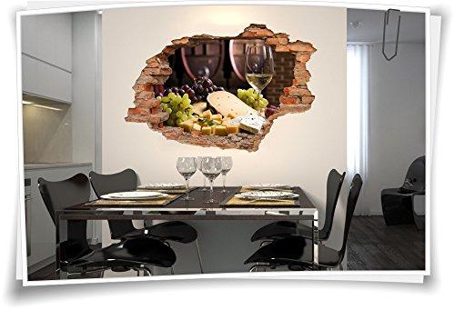 3D Wanddurchbruch Wandbild Wandaufkleber Sticker Wein Käseplatte Weintrauben Weinprobe Weinkeller, 90x60cm