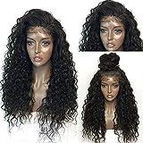 Ankamal Elec Longue perruque noire de cheveux bouclés de perruque de cheveux humains avant de lacet perruques avec des cheveux de bébé préplumés pour des femmes noir naturel 24 pouces