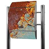 BANJADO Edelstahl Briefkasten groß, Standbriefkasten freistehend 126x53x17cm, Design Briefkasten mit Zeitungsfach Motiv Rost und Blau