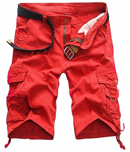 UMilk Herren Baumwoll Loose Fit Multi Taschen Cargo Camouflage Shorts (Baumwolle Shorts Tan)