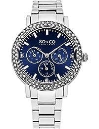 SO & CO New York 5216B.2 - Reloj de pulsera para mujer, correa de chapado en acero inoxidable