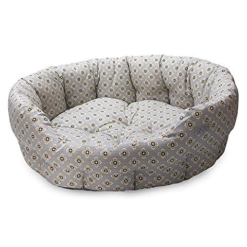 Ochre And Ocre Organic Cotton Pet Bed Garden Ochre Grey Medium