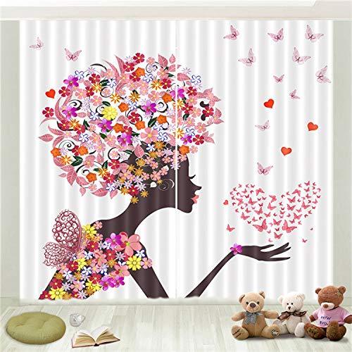 Lgxingliyidian trattamento di finestra super soft tenda oscurante colore creativo farfalla floreale amore ragazza stampa 3d isolamento termico tende occhiello 200 (h) x130cm (w) x2