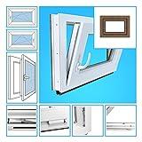 Kellerfenster Kunststoff Fenster Garagenfenster - 3-Fach Verglasung, BxH 60x65 cm, DIN rechts - außen golden oak