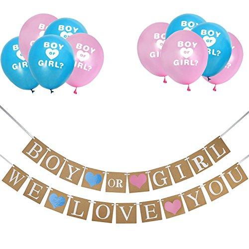 Banner und Geschlecht Offenbaren Ballons Set Baby Gender Zeigen Party Gefälligkeiten Schwangerschaft Ankündigung (Baby Boy Ankündigungen)