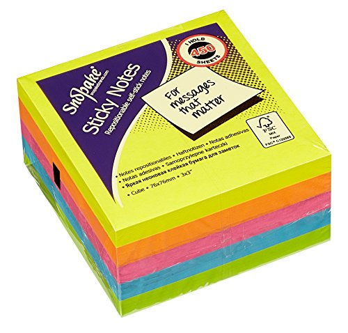 snopake-11702-sticky-note-cube-450-sheets-cube-76-x-76-mm-neon-assorted-colours
