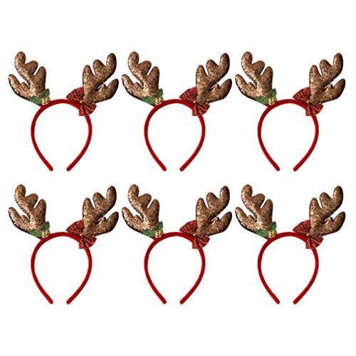 Amosfun 6 x Weihnachts-Rentier-Geweih Stirnband Haarband Kopfbedeckung Haarreif für Weihnachten Ostern Halloween Party (Kaffeebraun Gold Pulver Geweih) Größe 1 Kaffee/goldfarben