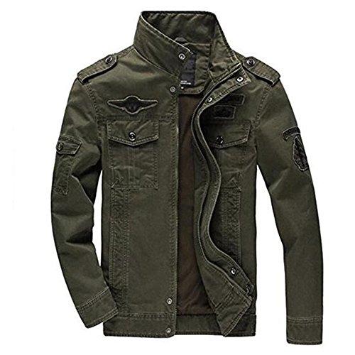Newbestyle Printemps et Automne Veste Militaire Blousons Hommes Veste en Coton Col Manteau Veste Vert