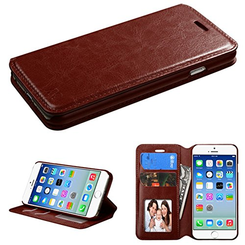 CellularOutfitter iPhone 6/6s Bi-Fold Leather Folding Wallet Case and Stand w/ Interior Card Slots - Black Brown