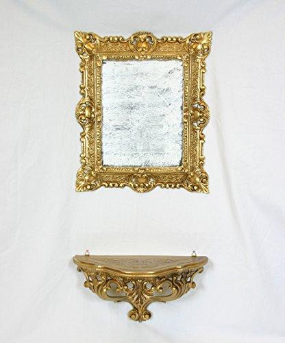 Ideacasa Set étagère Console + Miroir Coiffeuse Or doré Imitation Vintage Style Louis XVI ameublement entrée