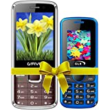G'Five G9(Coffee)+GLX W5 Blue COMBO OF TWO Basic Feature Mobile Phone With WIRELESS FM & 1 Year Manufacturer Warranty