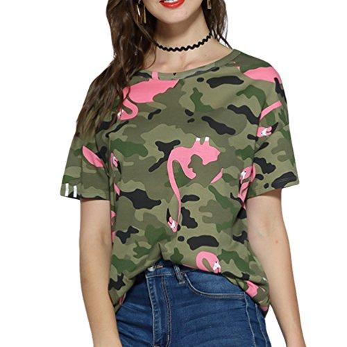 JEELINBORE Mujeres Casual T-Shirt Tops de Manga Corta Camuflaje Shirt