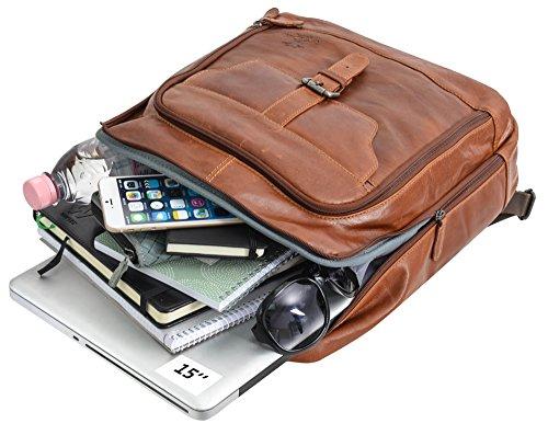 Gusti Leder Studio ''Niki'' zaino a spalla con interno impermeabile per computer 15,6'' città unisex marrone 2M40-20-2wp