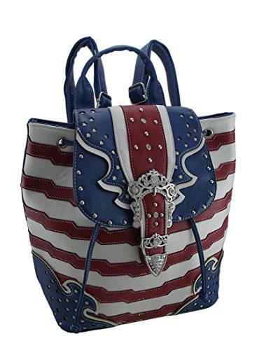 American Flagge Strass Schnalle Western Style Kordelzug Rucksack (Mode-western-schnalle)