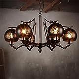 KDLD Lampadario ® Lampadario Soffitto a pendolo in ferro battuto in acciaio inox industriale LOFT 6 lampadine con foglie vuote paralume per soggiorno, bar, caffè, ristorante