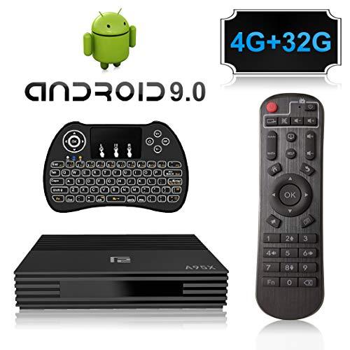 Android 9.0 TV Box, A95X Smart TV Box con Amlogic S905X2 Quad Core CPU,4GB RAM/32GB ROM 4K 3D 2.4GHz/5.0GHz WiFi Bluetooth 4.0 con Mini Wireless Backlight Keyboard