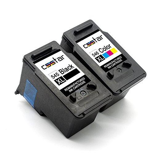 csstar rigenerate cartucce d'inchiostro compatibili per canon 545 546 pg-545xl cl-546xl per pixma mg2550s mg2950 mg2450 mg3050 mg3051 mx495 ip2850 mg3052 mg3053 mg2900 stampante, nero e tri-color