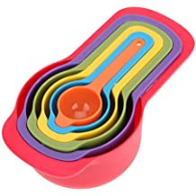 VENMO Colorful 6PCS Kitchen Cooking Plastic Measuring Spoons & Cups Set With Hook 7.5ml-250ml