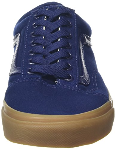 Vans Old Skool, Baskets Basses Mixte Adulte Bleu (Canvas Gum)