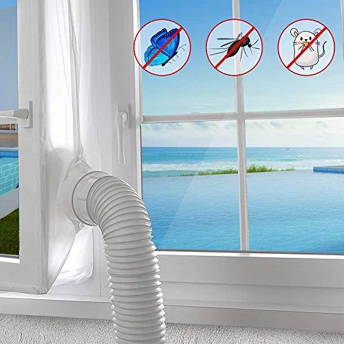 AGPTEK Guarnizione Finestre Condizionatore Portatile o Climatizatore Portatile Facile da montare Chiusura a Strappo Con Zip Impermeabile,400CM,Bianco