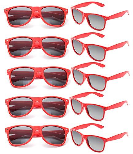 FSMILING Großhandel 80er Jahre Neon farbige Vintage Klassisch Party Sonnenbrille für Herren Damen Kinder(10 Stück Rot)