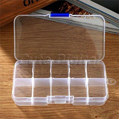 Sypure £ š TM) 10vani portaoggetti scatola di plastica gioielli collana Storage box case Holder organizer Cosmetics perline contenitore 12.7x 6.5x 2.1cm