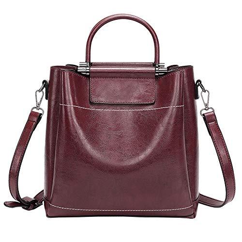Lady Bag Charme (Qmm Retro Lady Single Schulter Oblique Span Handtasche Einfache Rindsleder Große Kapazität Einzelner Schulterbeutel Multifunktionsfreizeit Tote Messenger (Color : Red))