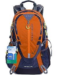 EGOGO 30L al Aire Libre Ciclismo Senderismo Mochila Resistente al Agua Corriendo Mochila Camping con Lluvia Cubierta S2310 (Naranja)