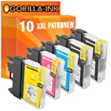 Gorilla-Ink® 10 Tinten-Patronen XXL kompatibel für Brother LC980 DCP-190 Series DCP-195 C DCP-197 C DCP-365 CN DCP-370 Series