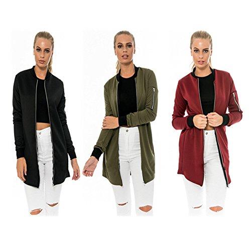 HENGSONG Automne Femme Simple Veste Mode Longue Cardigan Manteau Noir