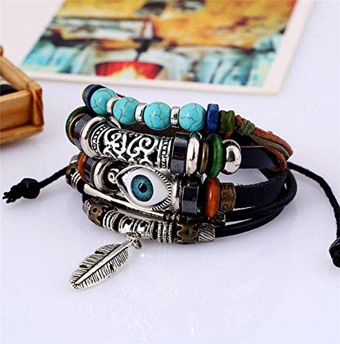 Doitsa Damen Armbänder Weben Haut Armband mit Feder Anhänger Einstellbar Schmuck Zusätze für Geburtstags Geschenk (Feder Bangles)