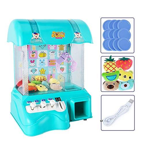 XUMING Traditionelle Arcade Klaue Maschine USB + Batterie Puppe Greifmaschine Candy Collector Senden Puppenfamilie Interaktive Kinder Action- und Reaktionsspiel,Green - Tabletop-automaten