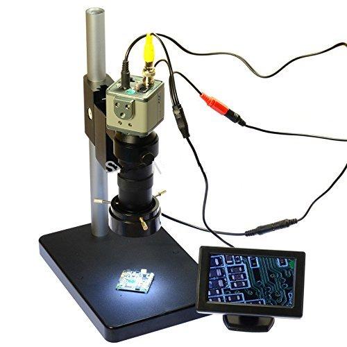 800TVL 130x Mikroskop Industrie Kamera BNC/AV-Ausgang + 10,9cm LCD Monitor + Ständer Halterung + C-Mount Objektiv + 40LED-Ring rechts (Bnc-mount)
